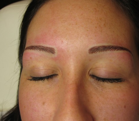 Permanent cosmetics eyebrows results